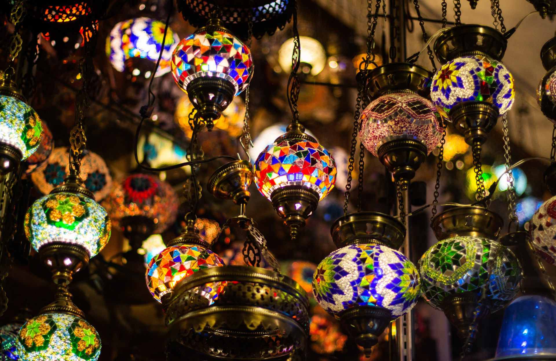 Colourful hanging Moroccan lamp display